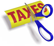 Scissors cut high unfair Taxes. Pair of scissors cuts unfair too high taxes in half with clipping path Stock Images