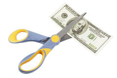 Scissors cut a hundred dollar bill. Isolated on a white background stock illustration