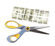 Scissors cut a hundred dollar bill into many parts Stock Photo