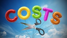 Scissors cut letter shaped balloons form the word cost. 3D illustration.  vector illustration