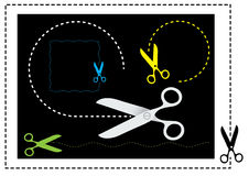 Scissors and cut lines. Royalty Free Stock Image