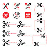 Scissors with cut lines icons set Royalty Free Stock Photos