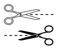 Scissors with cut lines Stock Photography