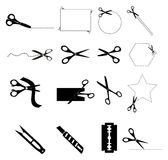 Scissors with cut lines Royalty Free Stock Photos