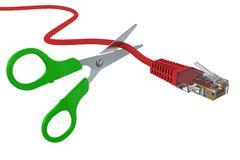 Scissors cut the network cable RJ45. 3D rendering Stock Images