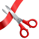 Scissors cut off the ribbon Stock Images