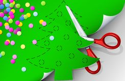Scissors cut out fir of paper. Illustration Royalty Free Stock Photography