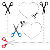 Scissors cut out the shape. The dotted line. Royalty Free Stock Photography