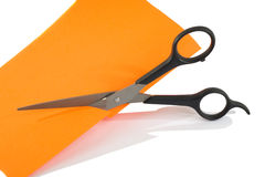 Scissors cut paper Royalty Free Stock Photography