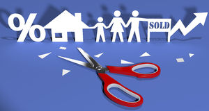 Scissors cut paper doll family home. Scissors cut out paper doll family buying home real-estate investment Royalty Free Stock Photography
