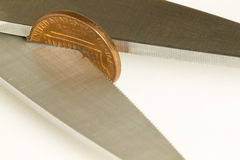 Scissors Cut Penny Stock Photography