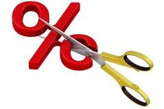Scissors cut a percent sign. Scissors cut red percentage symbol. The concept of reducing the interest rate. . 3D Illustration Stock Images