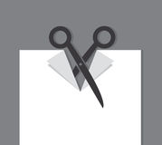 Scissors Cut Piece of Paper Royalty Free Stock Image