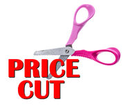 Scissors and Cut Price sale text concept. royalty free stock image