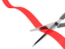 Scissors cut the red ribbon Stock Photo