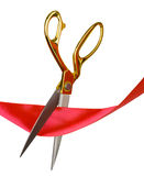 Scissors cut the red ribbon Royalty Free Stock Photo