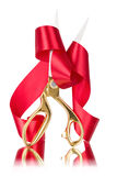 Scissors cut the red ribbon Royalty Free Stock Image