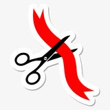 Scissors cut red ribbon Royalty Free Stock Photos
