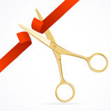Scissors Cut Red Ribbon. Vector Stock Photo