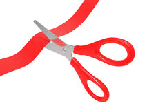 Scissors cut a red tape Stock Image