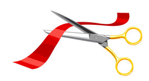 Scissors, cut the red tape. Stock Photo
