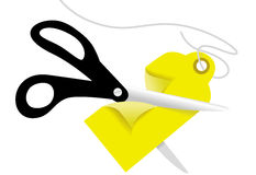 Scissors cut a retail business Price Tag Stock Photo