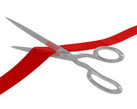Scissors cut the ribbon Royalty Free Stock Image