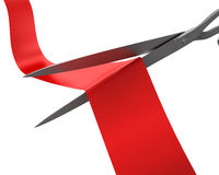 Scissors cut the ribbon closeup Stock Images
