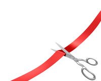 Scissors cut ribbon, corner version Royalty Free Stock Photography