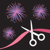 Scissors cut the ribbon. Grand opening celebration. Business beginnings event. Launch startup. Black background with fireworks.  Stock Photo