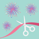 Scissors cut the ribbon. Grand opening celebration. Business beginnings event. Launch startup. Blue background with fireworks. Fla Royalty Free Stock Photography