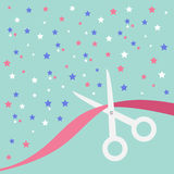 Scissors cut the ribbon. Grand opening celebration. Business beginnings event. Launch startup concept. Blue background with stars. Royalty Free Stock Photo