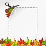 Scissors cut sticker. Autumn leaf Stock Image