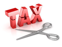 Scissors cut tax word Royalty Free Stock Photo