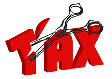 Scissors cut taxes Royalty Free Stock Images