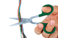 Scissors cut wires Stock Images