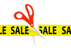 Scissors cut yellow SALE ribbon tape Stock Images