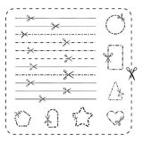 Scissors cutout line icons. Vector dashed and dotted cutting paper lines for design Stock Images