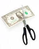 Scissors cuts one american dollar note Stock Photography