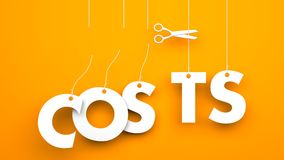 Scissors cuts word COSTS. Conceptual business image Stock Photos