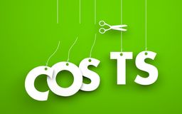 Scissors cuts word COSTS. Symbolizes discounts and prices drop. White word costs suspended by ropes on green background Stock Photos