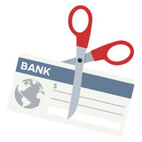 Scissors Cutting a Bank Check Flat Icon Royalty Free Stock Photography