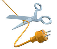 Scissors cutting the cord Royalty Free Stock Photos
