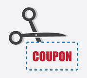 Scissors Cutting Coupon Royalty Free Stock Photo