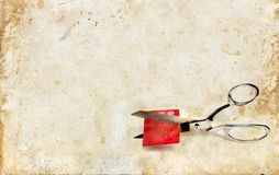 Scissors Cutting a Credit Card Royalty Free Stock Photo