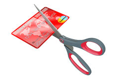 Scissors Cutting Credit Card. 3d Rendering Royalty Free Stock Image