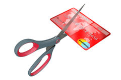 Scissors Cutting Credit Card. 3d Rendering Stock Photo