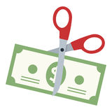 Scissors Cutting a Dollar Banknote Flat Icon. Scissors cutting a banknote flat icon, isolated on white background. Eps file available royalty free illustration