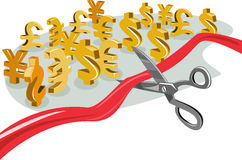 Scissors cutting dollar signs Royalty Free Stock Image