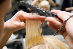 Scissors cutting hair Royalty Free Stock Photo